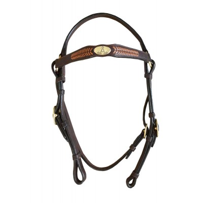 "ASH ""A"" Show Bridle with TAN ARROW Plait"