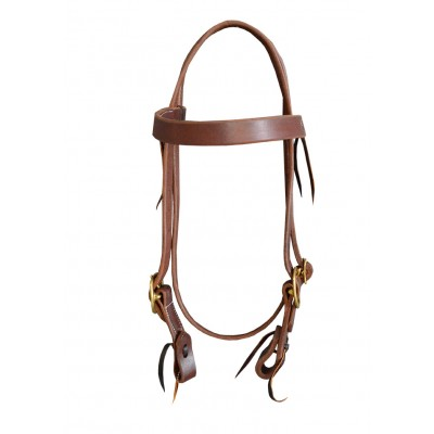 "Headstall - Hermann Oak (USA) 1"" Double Buckle Barcoo Tuff Work Bridle"