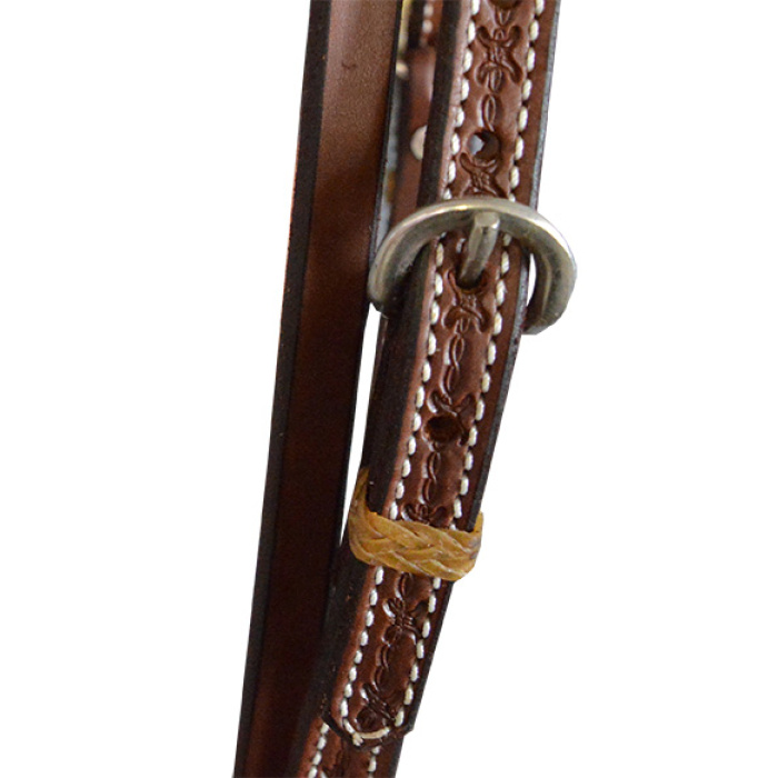 Headstall - Hermann Oak (USA) Basket Weave stamped Browband and leather Ties