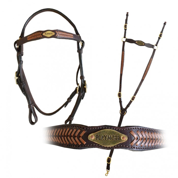 Custom Braided Bridle / Breastplate set with your own logo / text