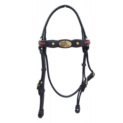 "ASH ""A"" Show Bridle with RED Plait"