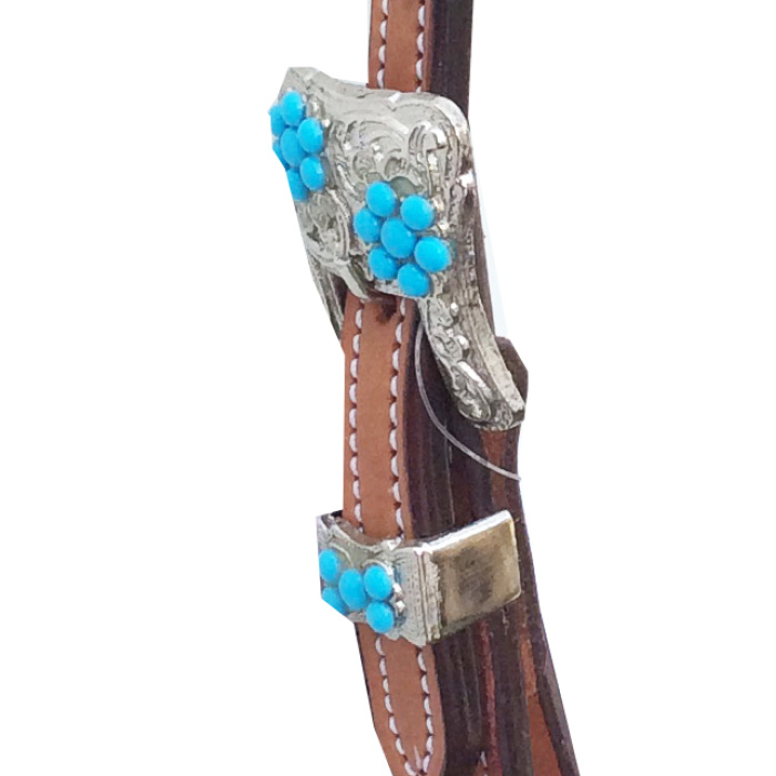 Bridle with Embossed Barbed Wire Browband, Silver buckles with blue beads