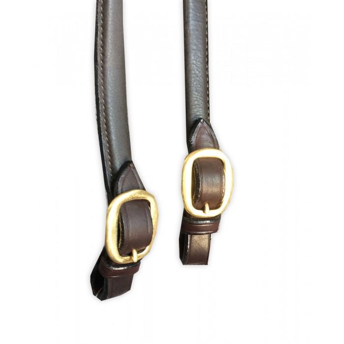 Reins - Soft Padded / bagged split Leather Show Rein. No colour plait