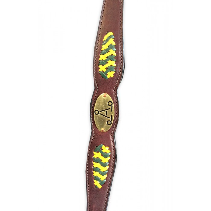 "ASH ""A"" Show Breastplate with GREEN & GOLD plait"