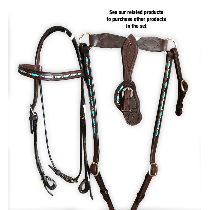 Ladies Shaped Spur Straps with Turquoise beads