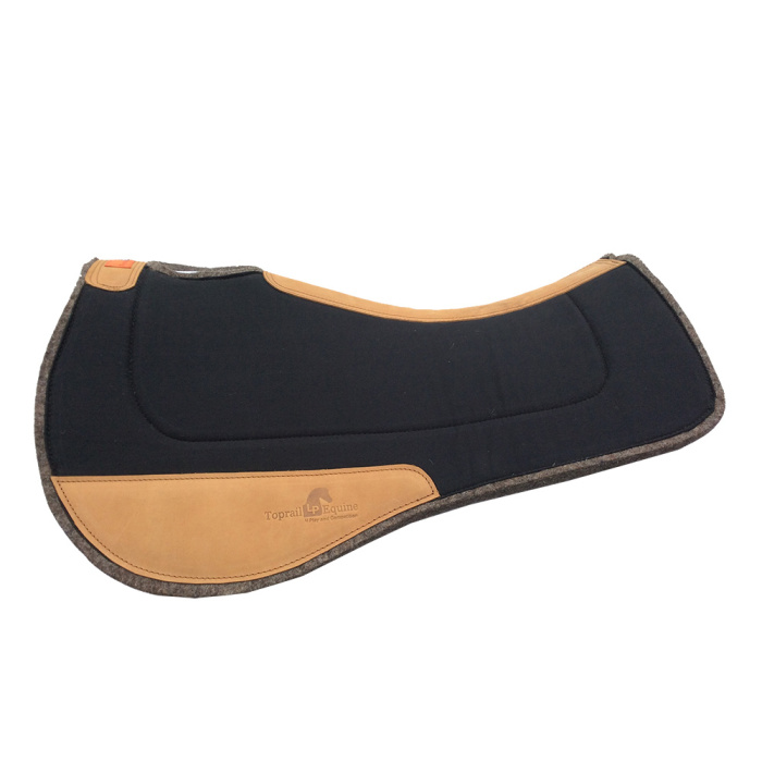 Saddle Pad- Contoured Wool / Wool with Leather Wear Pads - Black