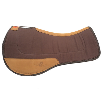 Saddle Pad- Contoured Wool / Felt with Leather Wear Pads - Chocolate Brown