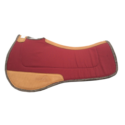 Saddle Pad- Contoured Wool / Wool with Leather Wear Pads - Maroon