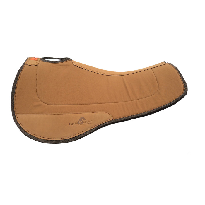 Saddle Pad- Contoured Wool / Wool with Leather Wear Pads - Tan