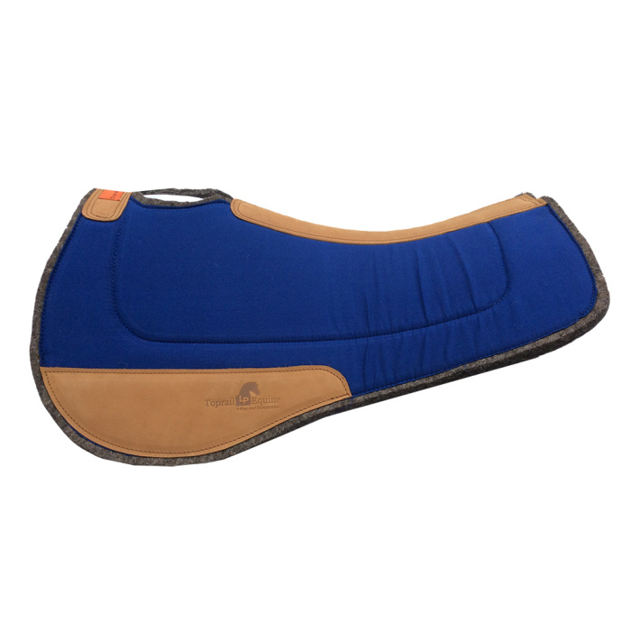 Saddle Pad- Contoured Wool / Wool with Leather Wear Pads - Royal Blue