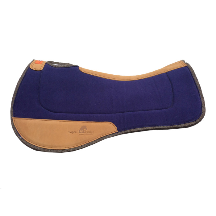 Saddle Pad- Contoured Wool / Felt with Leather Wear Pads - Navy