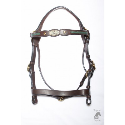 "ASH ""A"" Show Bridle with GREEN Plait"