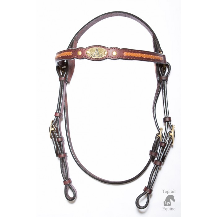 "ASH ""A"" Show Bridle with DARK BROWN plait"