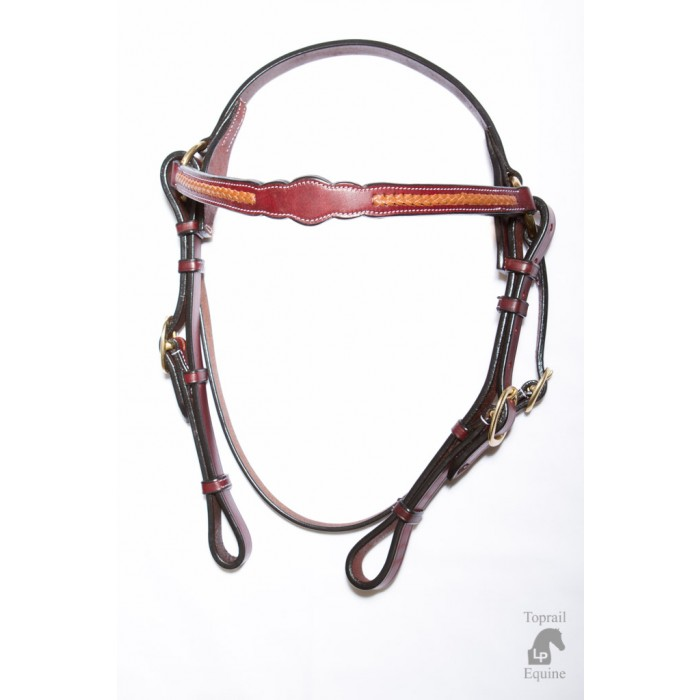 Bridle - Leather  with scalloped browband and tan plait