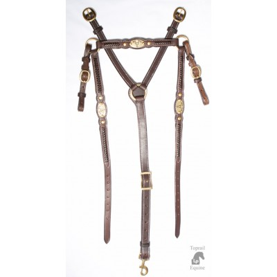"ASH ""A"" Show Breastplate with DARK HAVANA BROWN plait"