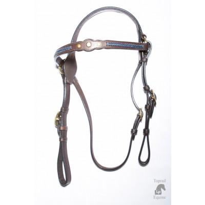 Bridle - Showring - Leather 3 studs & blue plait