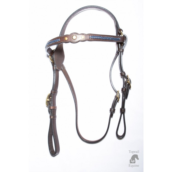 Bridle - Showring - Leather 3 studs & blue plait