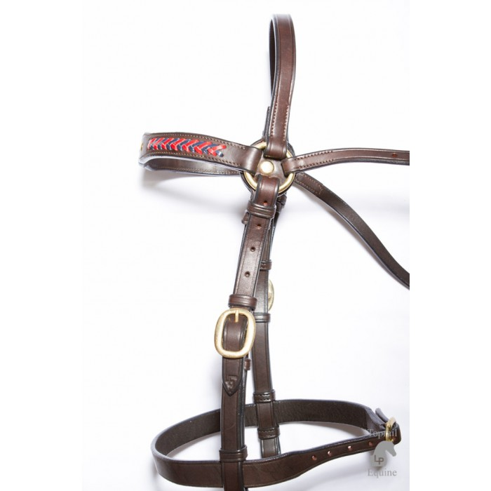 Bridle - Showring - Leather with 3 studs & red/blue plait