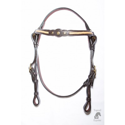 Bridle - Showring - Leather with Gold Plait - Dark