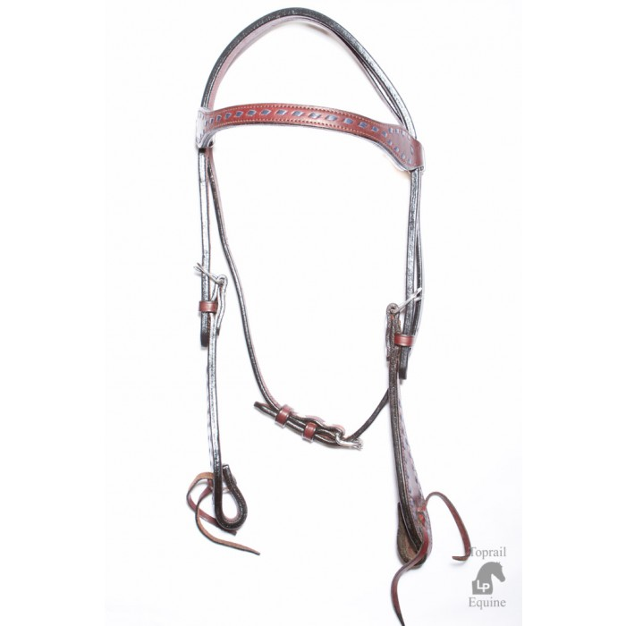Bridle - Leather with latigo ties and Blue Buckstitch plait