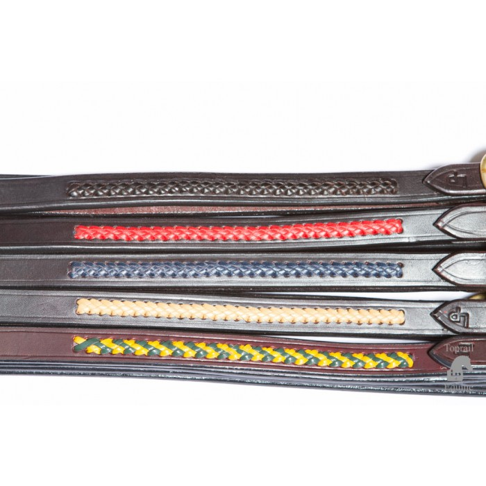 Reins - Leather show reins with colour plait option. Buckle joined