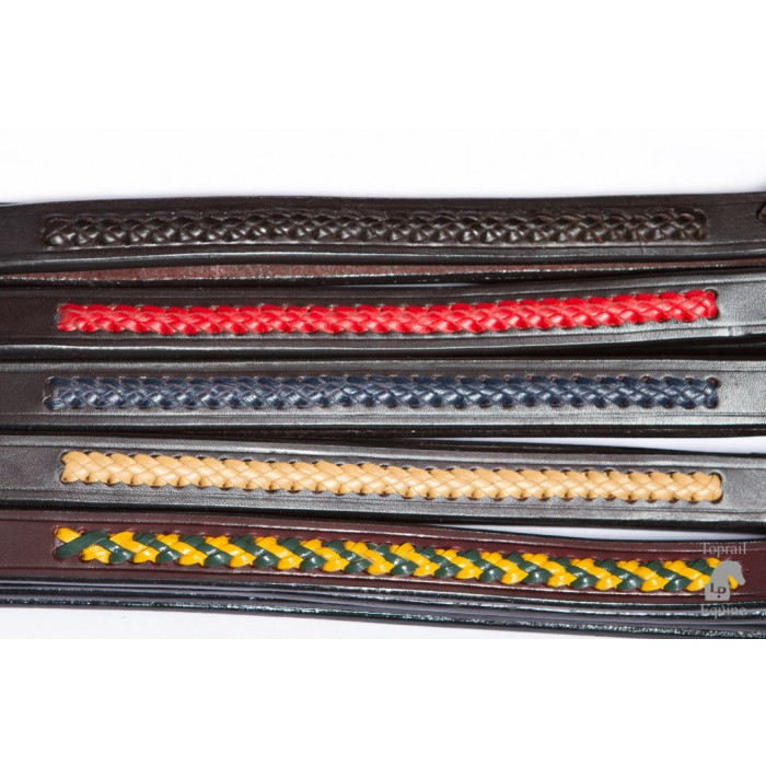 Reins - Soft Padded / Bagged Leather Show split reins with colour plait