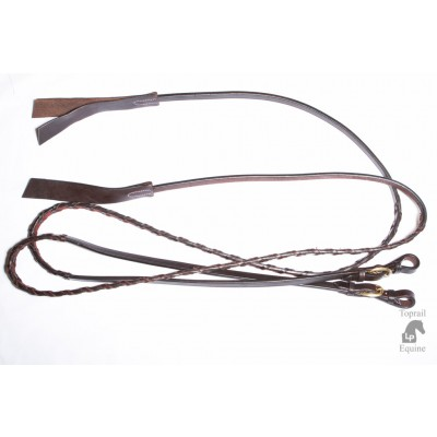 Reins - Lace Plait split reins with end leather flapper